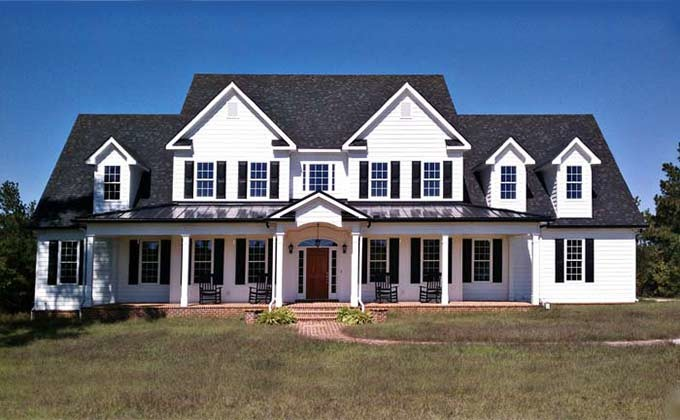 Story Bedroom Home Plan Porches Southern House