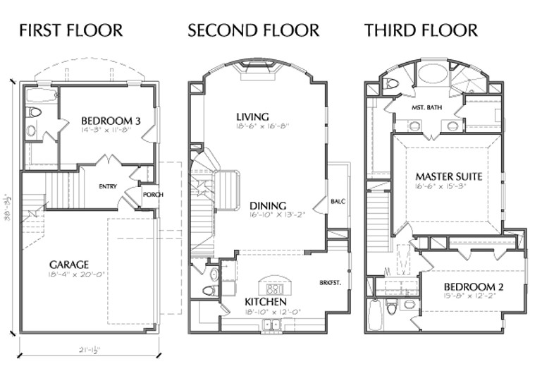 Story Multi Unit Townhouse Floor Plan