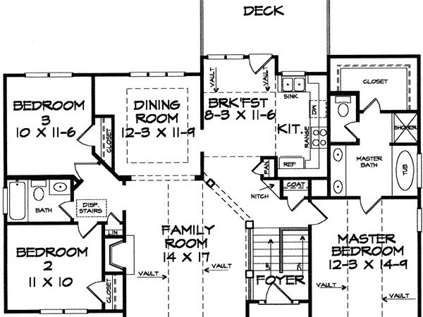 Stylish Split Level Home Plan Floor Master