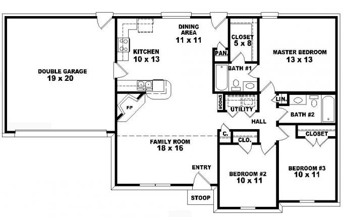 Superb Single Story Ranch Style House Plans Bedroom