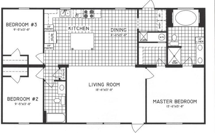 Three Bed Two Bath Open Floor Plans Kitchen