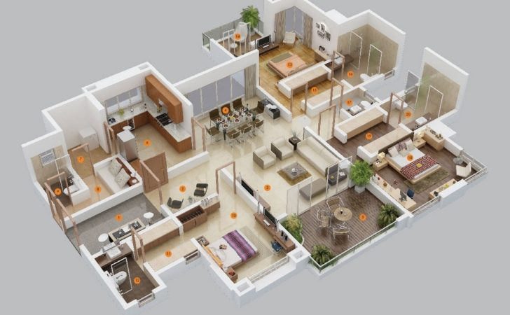Three Bedroom Apartment House Plans Architecture