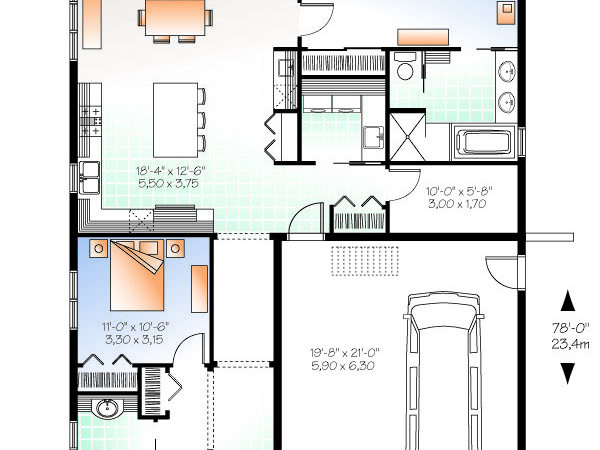 Three Bedroom Bungalow House Plan Professional Builder