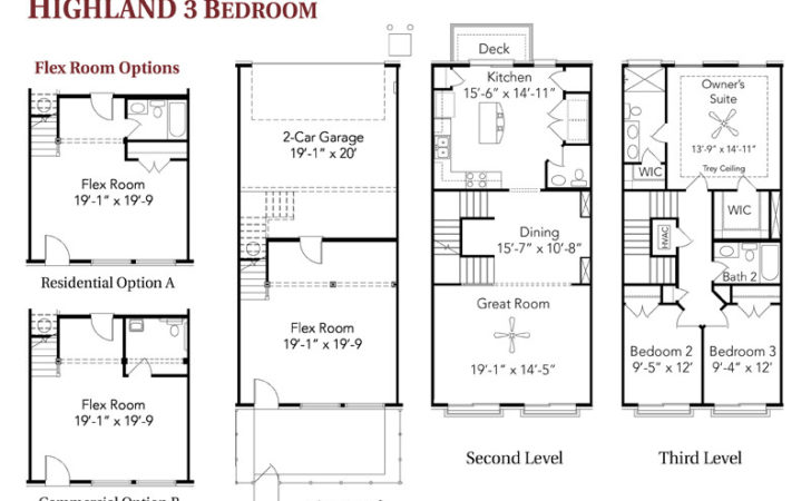 Three Bedroom Townhouse Floor Plans Building