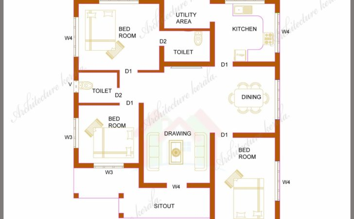 Three Bedrooms Square Feet Kerala House Plan