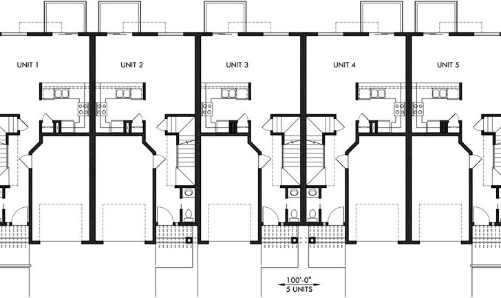 Townhouse Plans Row House Garage Sloping Lot