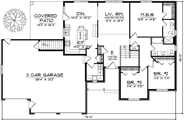 Traditional Ranch Style Home Plan Floor