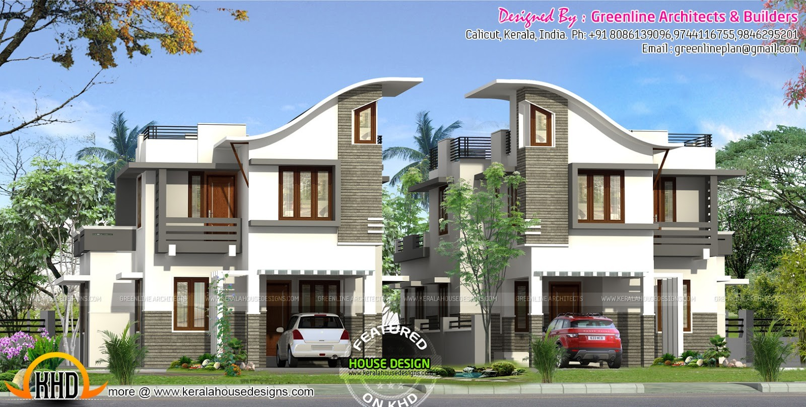 Twin House Design Kerala Home Floor Plans Building