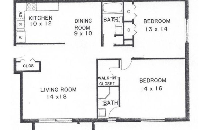 Two Bedroom Bath Floor Plan Villa Belmont Condominiums