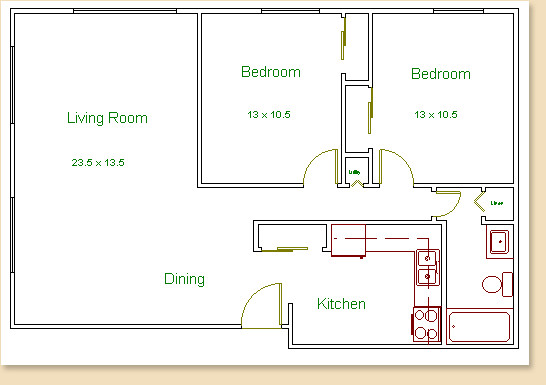 Two Bedroom Home Plans House Span New