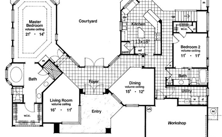 Two Story Courtyard House Plan Architectural