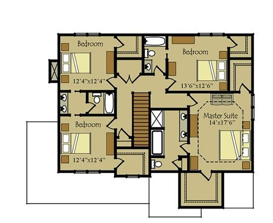 Two Story Four Bedroom House Plan Garage