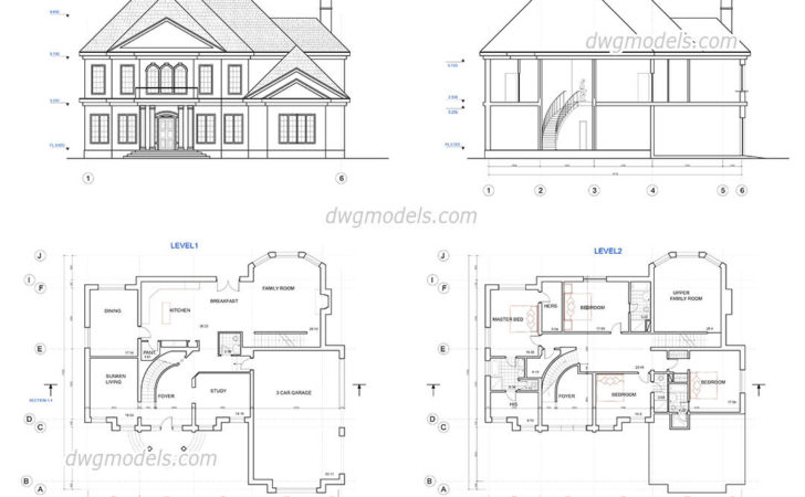 Two Story House Plans Dwg Cad Blocks