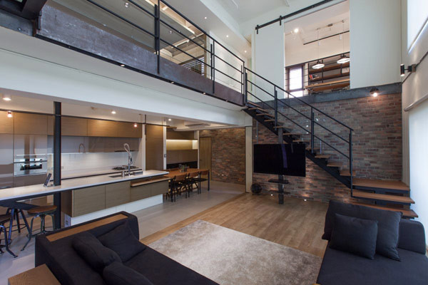 Two Story Penthouse Taiwan Displaying Contemporary