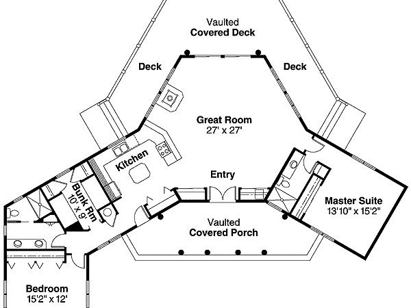 Vacation Home Plan Panoramic Rear