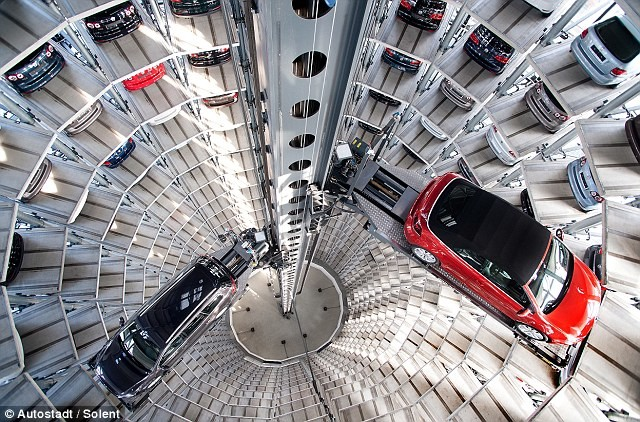 Volkswagens Stacked Into Tall Silos Ready