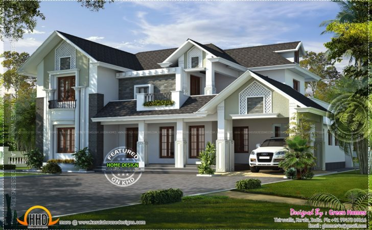 Western Style House Rendering Kerala Home Design