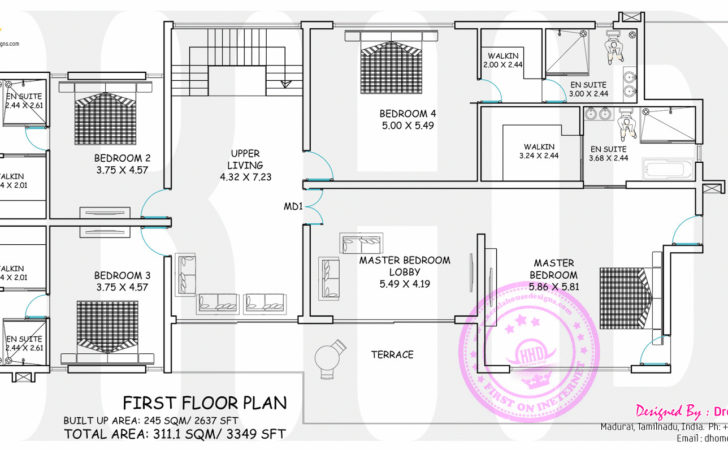 Wide Contemporary House Floor Plan Kerala Home
