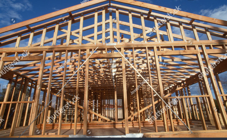 Wooden Frame House Under Construction